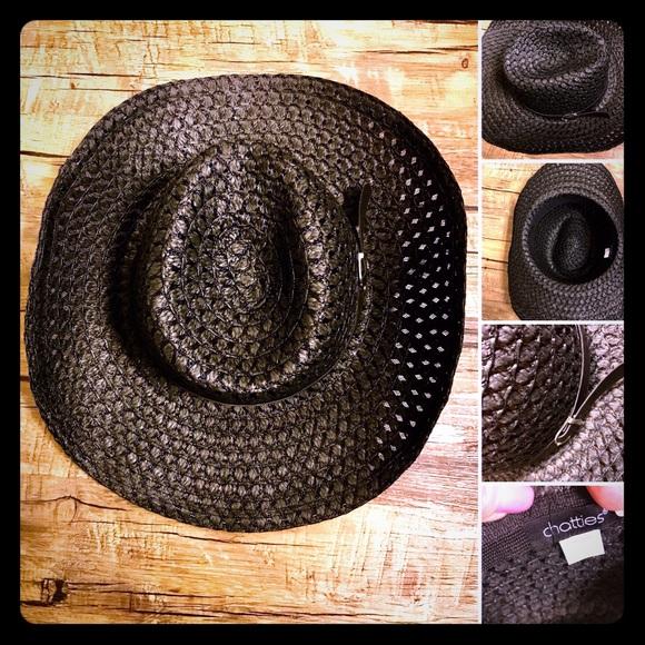 Chatries Brand New black straw bolero style hat 2b3449a9e74